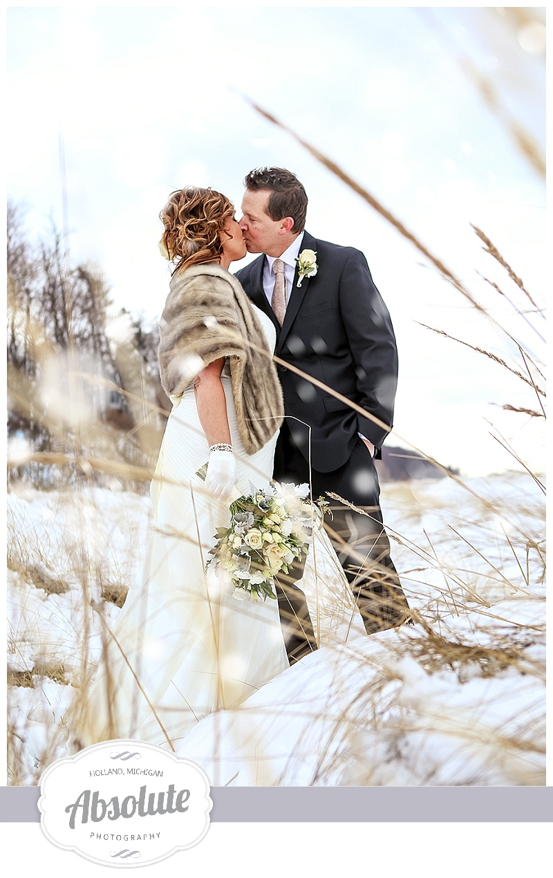 Winter Beach Wedding Elopement West Michigan Photographer